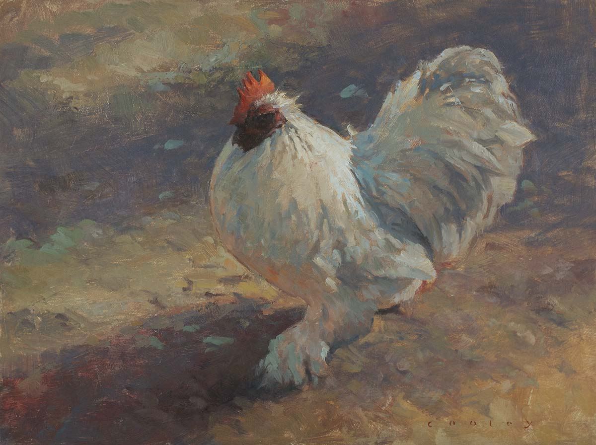 White chicken strut